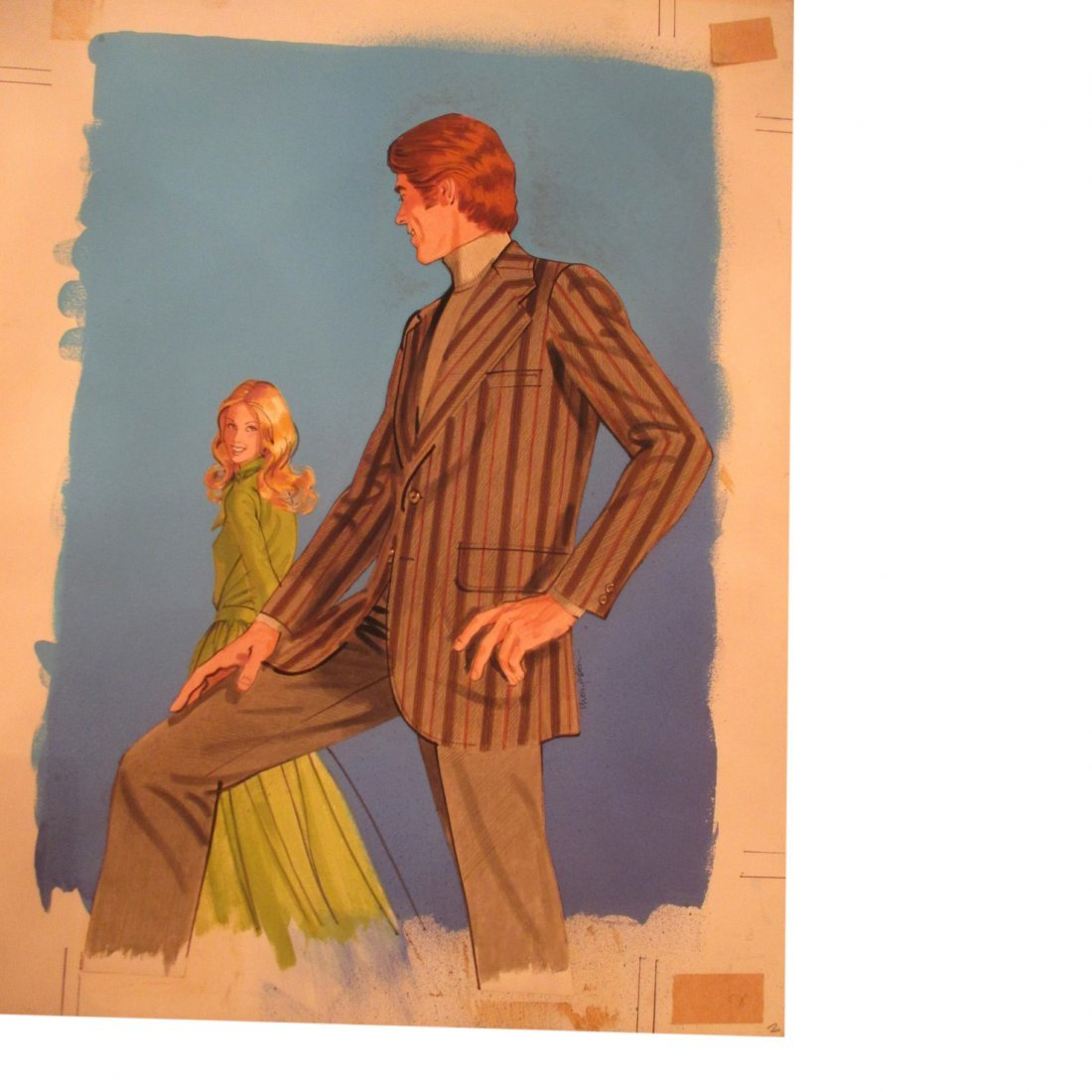 Thompson: Brown Stripe Jacket Watercolor