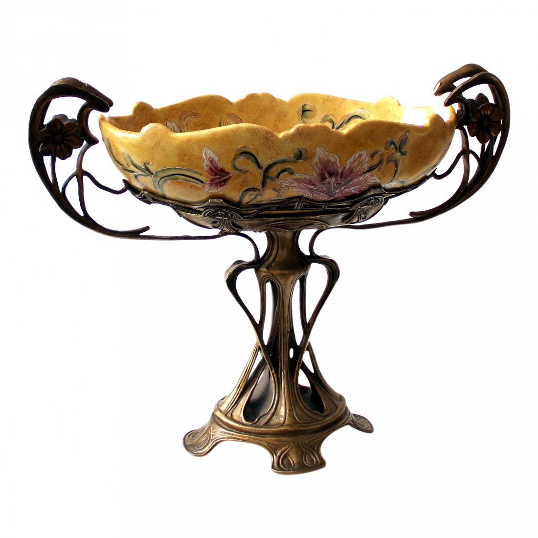 French Art Nouveau Centerpiece, Bronze, Majolica 19th C