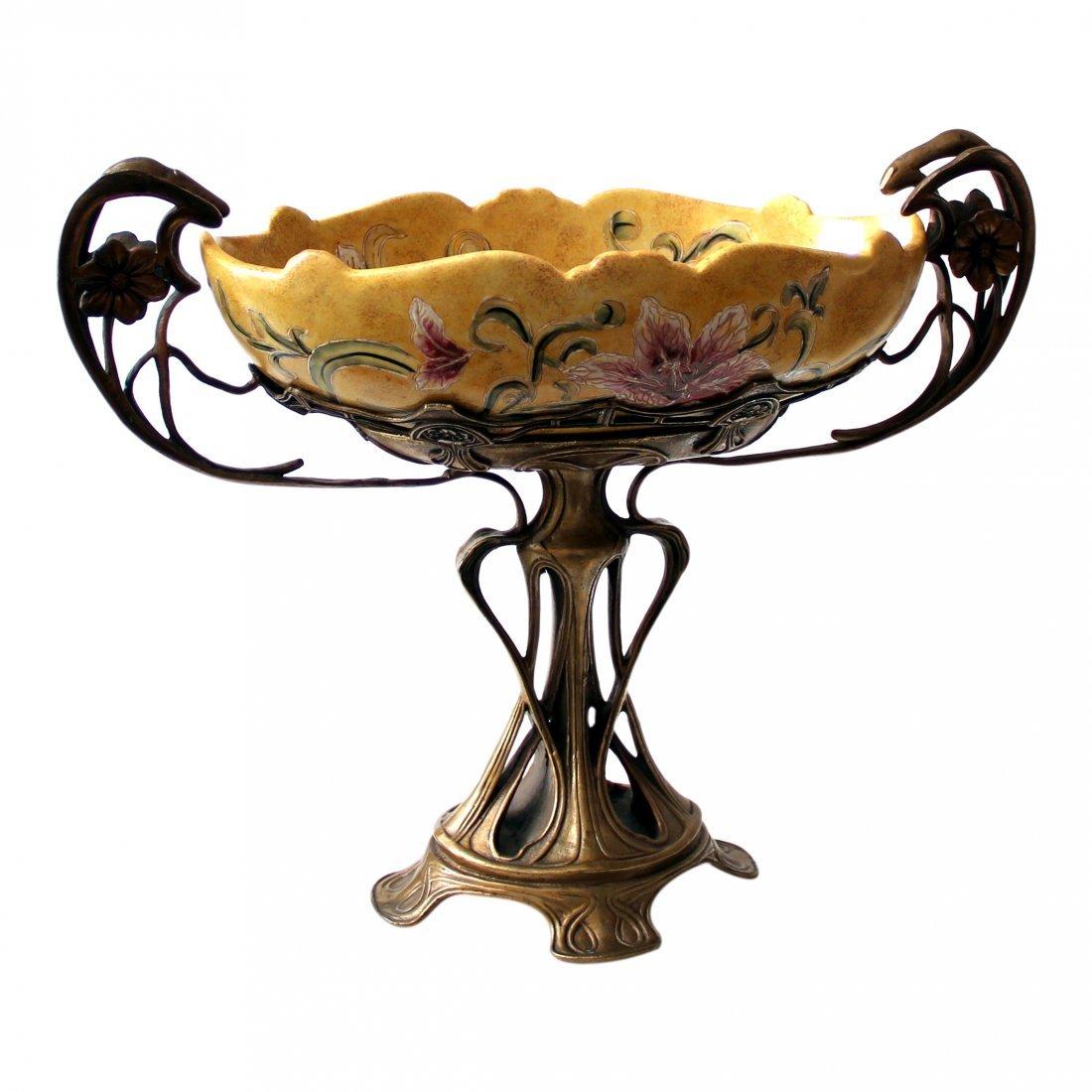 French Art Nouveau Centerpiece, Bronze, Majolica 19th C