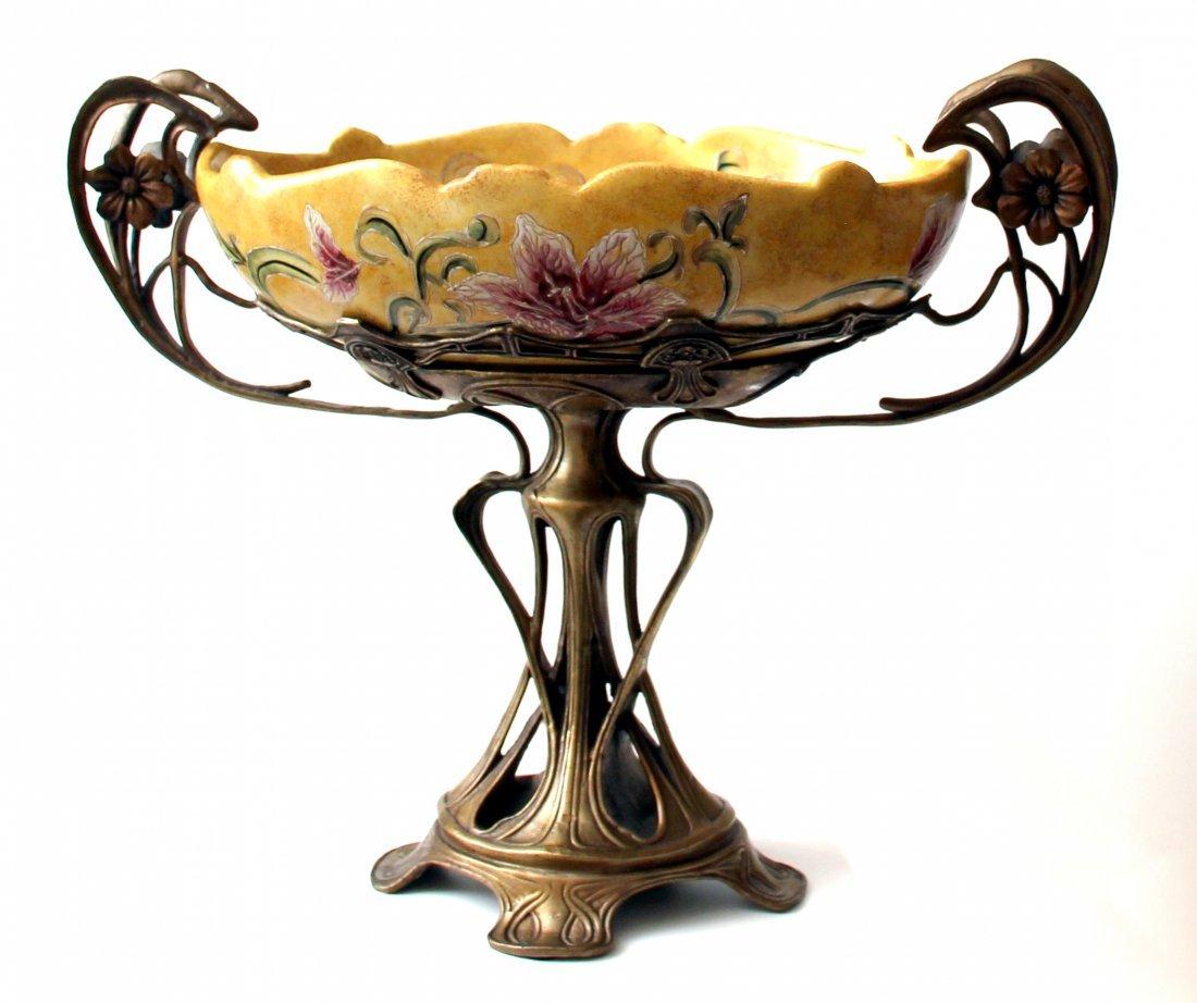 French Art Nouveau Centerpiece, Bronze, Majolica 19th C - 2