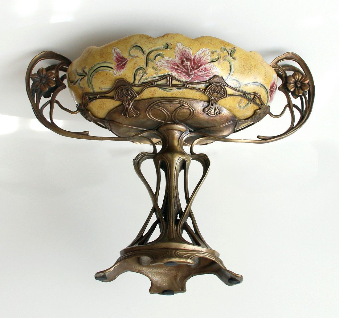 French Art Nouveau Centerpiece, Bronze, Majolica 19th C - 3