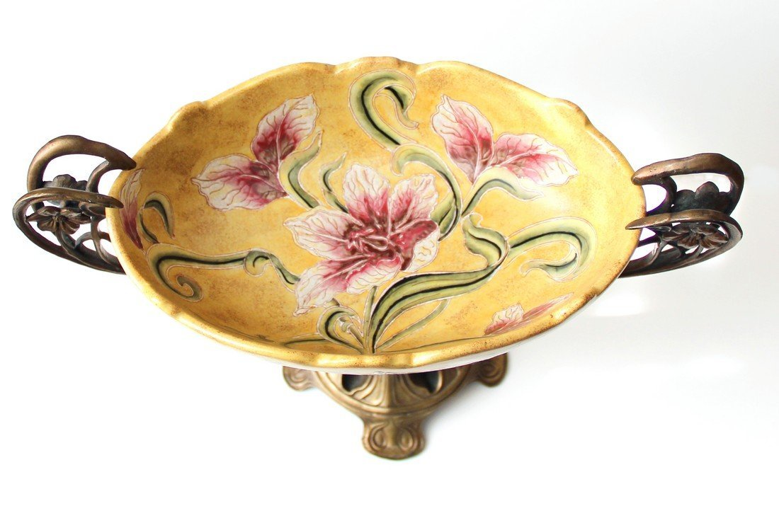 French Art Nouveau Centerpiece, Bronze, Majolica 19th C - 4