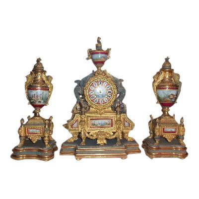 P.H. Mourley French Gilt Clock Set 1871