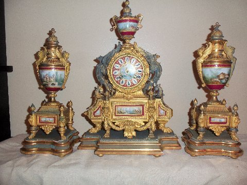 P.H. Mourley French Gilt Clock Set 1871 - 2