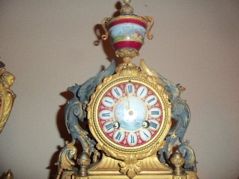P.H. Mourley French Gilt Clock Set 1871 - 3