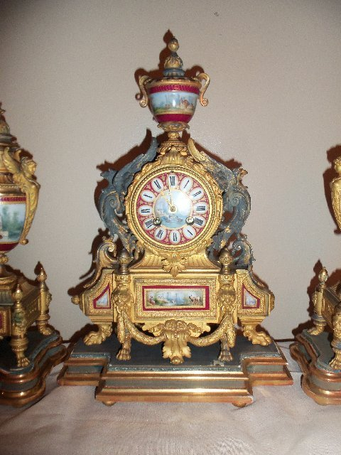 P.H. Mourley French Gilt Clock Set 1871 - 6