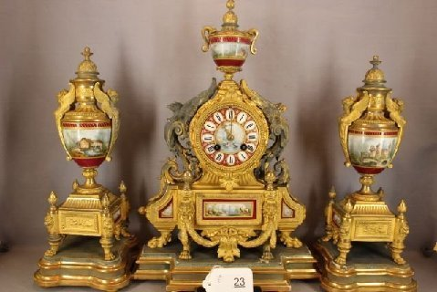 P.H. Mourley French Gilt Clock Set 1871 - 9