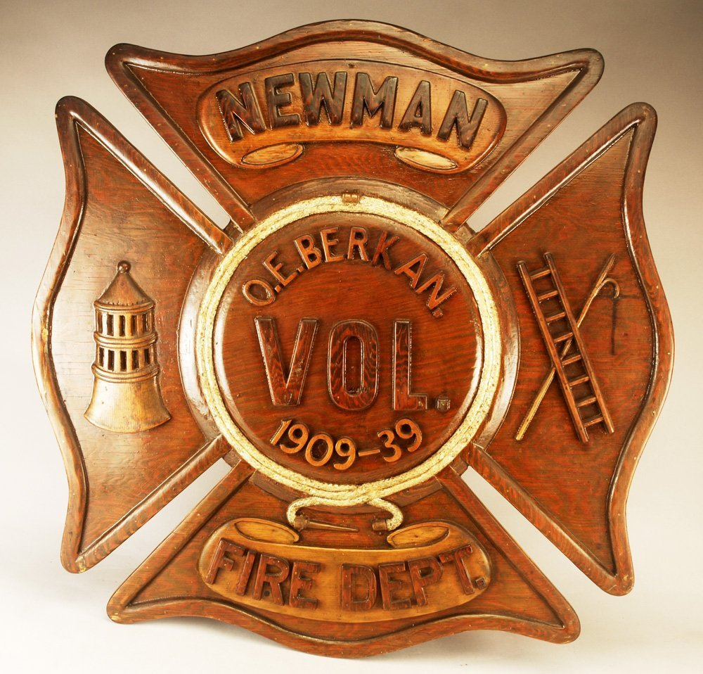 Early 20th C Fireman's Commemorative Retirement Plaque - 2