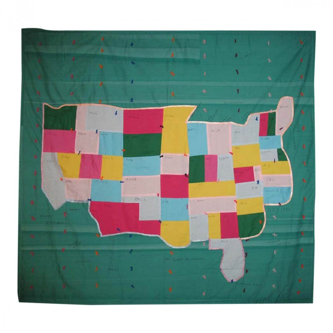 20th C United States Map Pieced Quilt