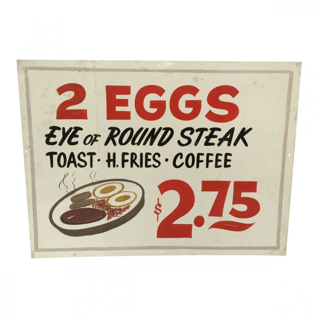 Colorful Breakfast Diner Sign, 1960s