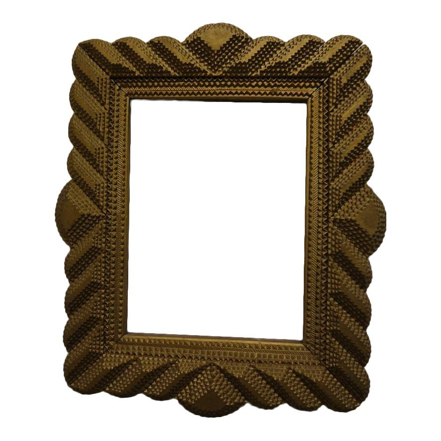 Handmade Gold Curvilinear Tramp Art Frame