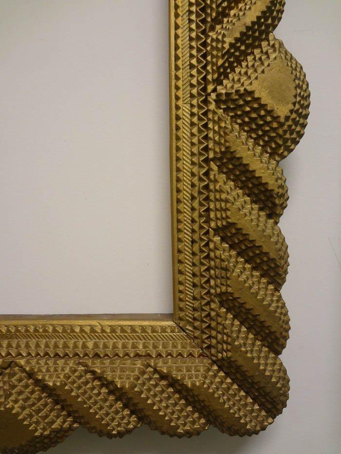 Handmade Gold Curvilinear Tramp Art Frame - 3