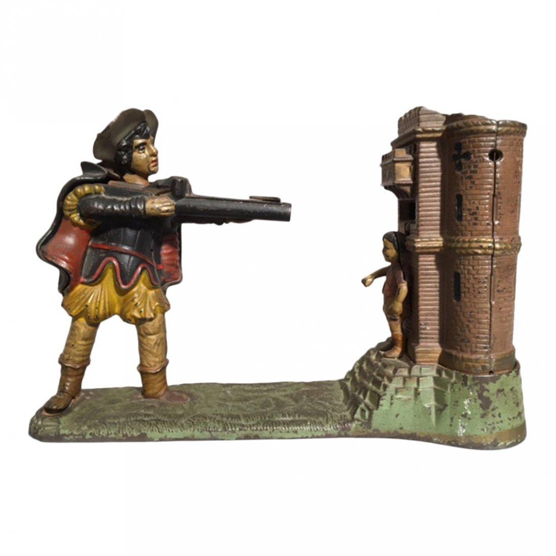 Cast Iron Rifleman Mechanical Bank, 1896
