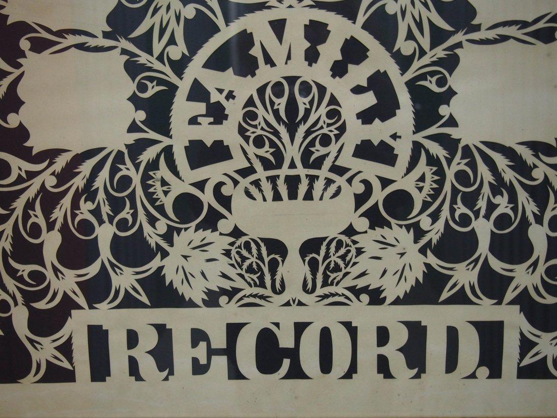 J.B. Walker Scherenschnitte Family Record in Frame - 2