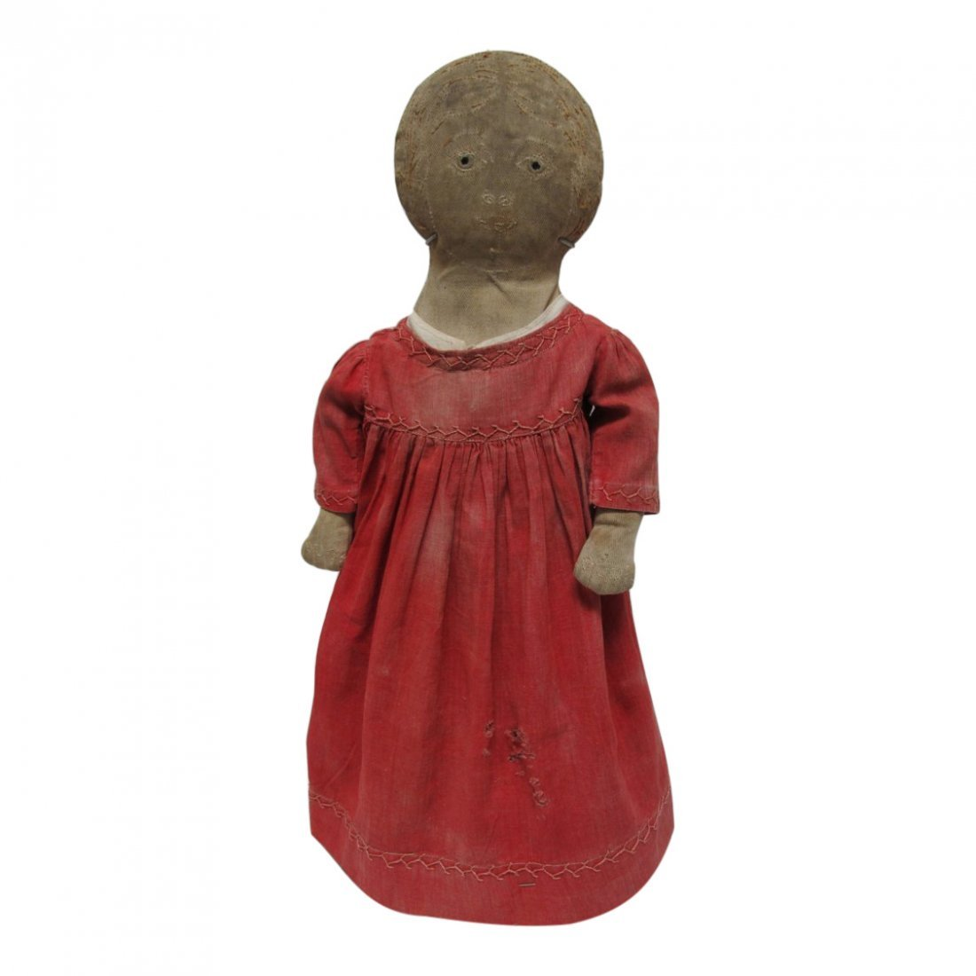 Early 20th C Cloth Doll with Red Dress