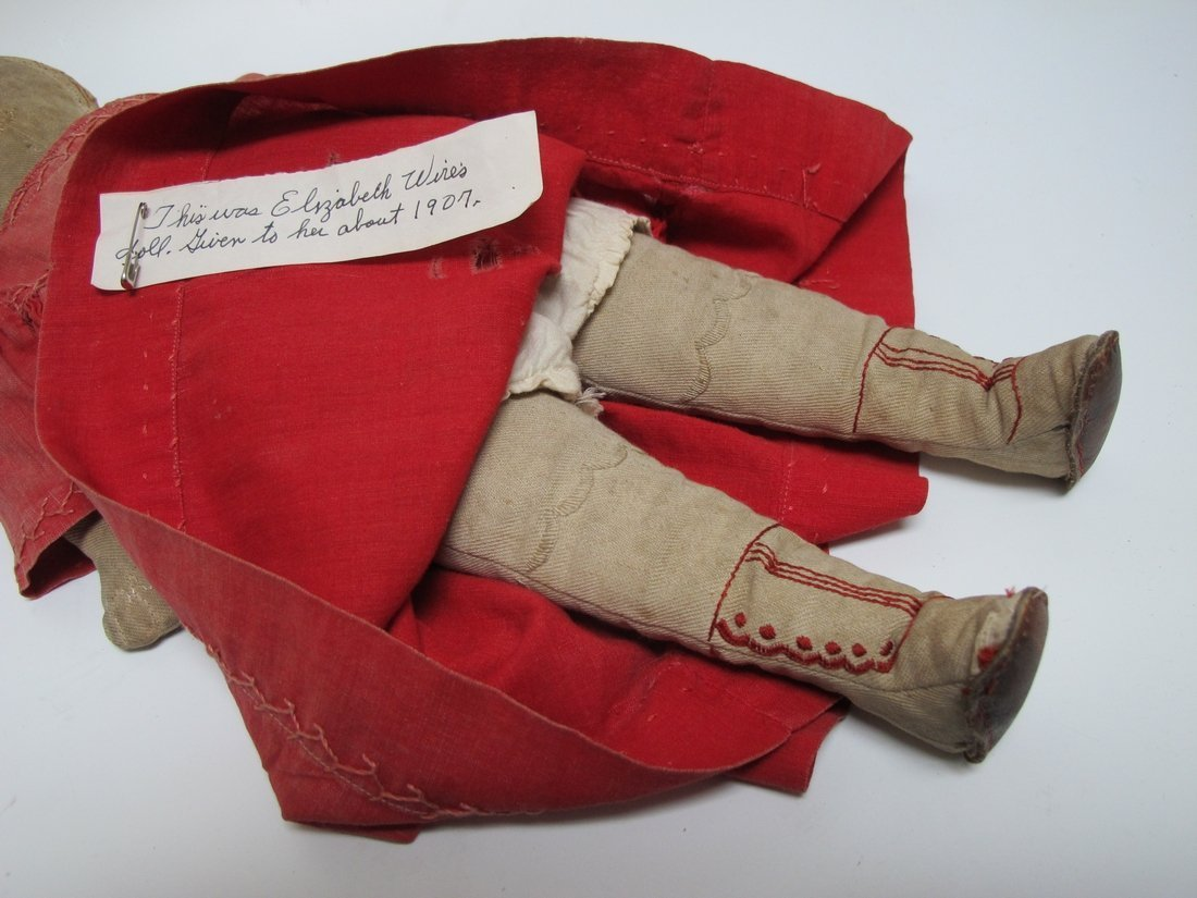 Early 20th C Cloth Doll with Red Dress - 4