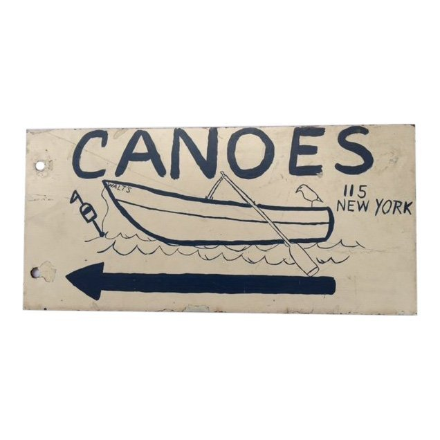 Hand-painted Upstate NY Double Sided Sign, 1940s