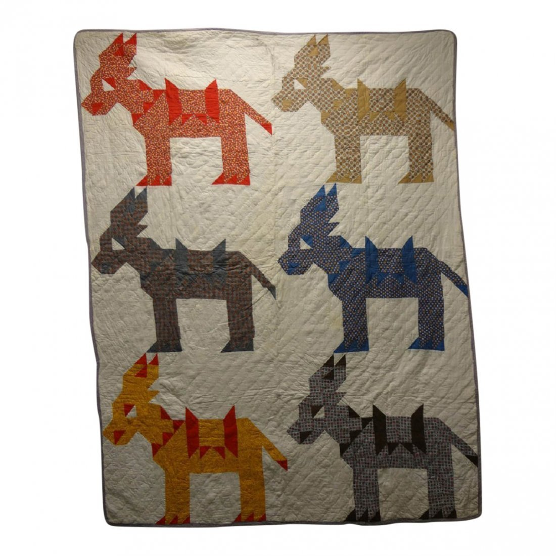 20th C Democratic Donkey Pieced Quilt