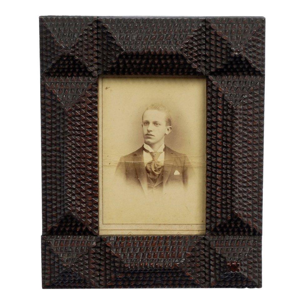 Late 19th C Handmade Layered Tramp Art Portrait Frame