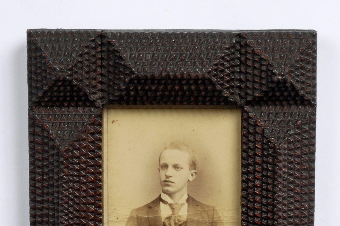 Late 19th C Handmade Layered Tramp Art Portrait Frame - 2