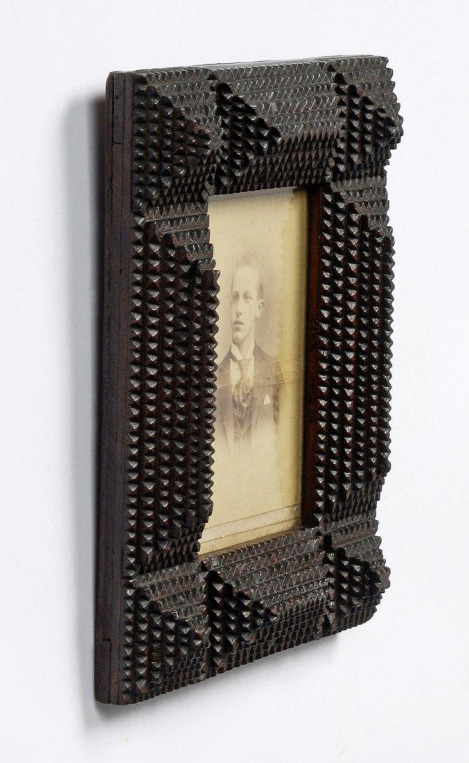Late 19th C Handmade Layered Tramp Art Portrait Frame - 3