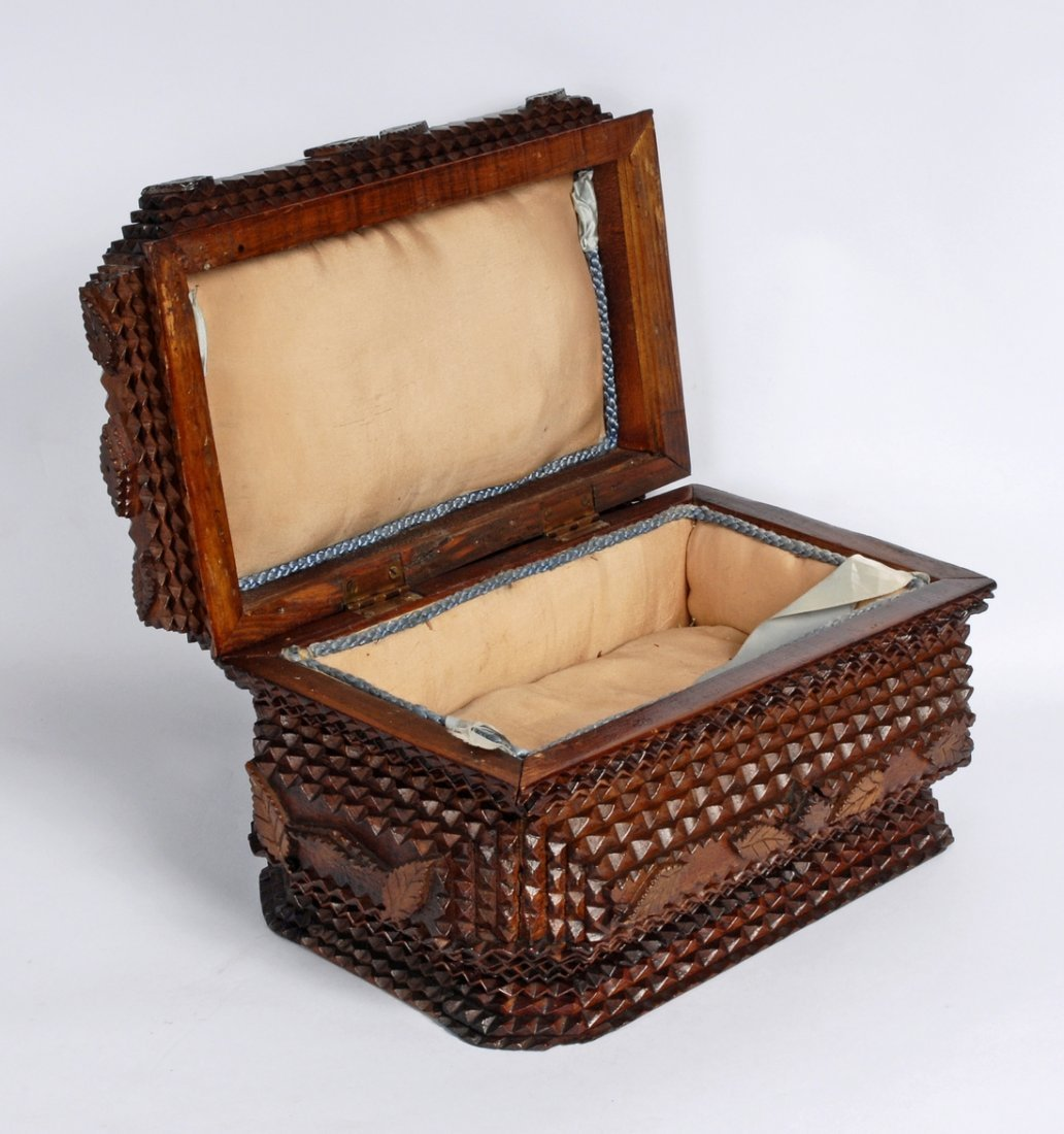 Early 20th C Handmade Tramp Art Box, Secret Compartment - 5