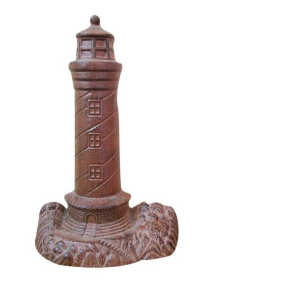 Early 20th C Cast Iron Lighthouse Doorstop