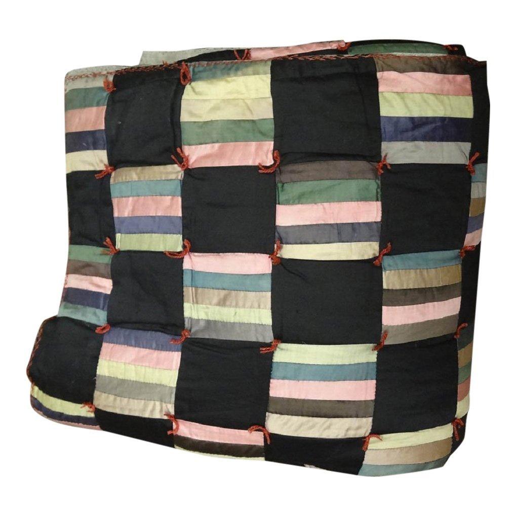 Black Striped Square Tied Through Quilt
