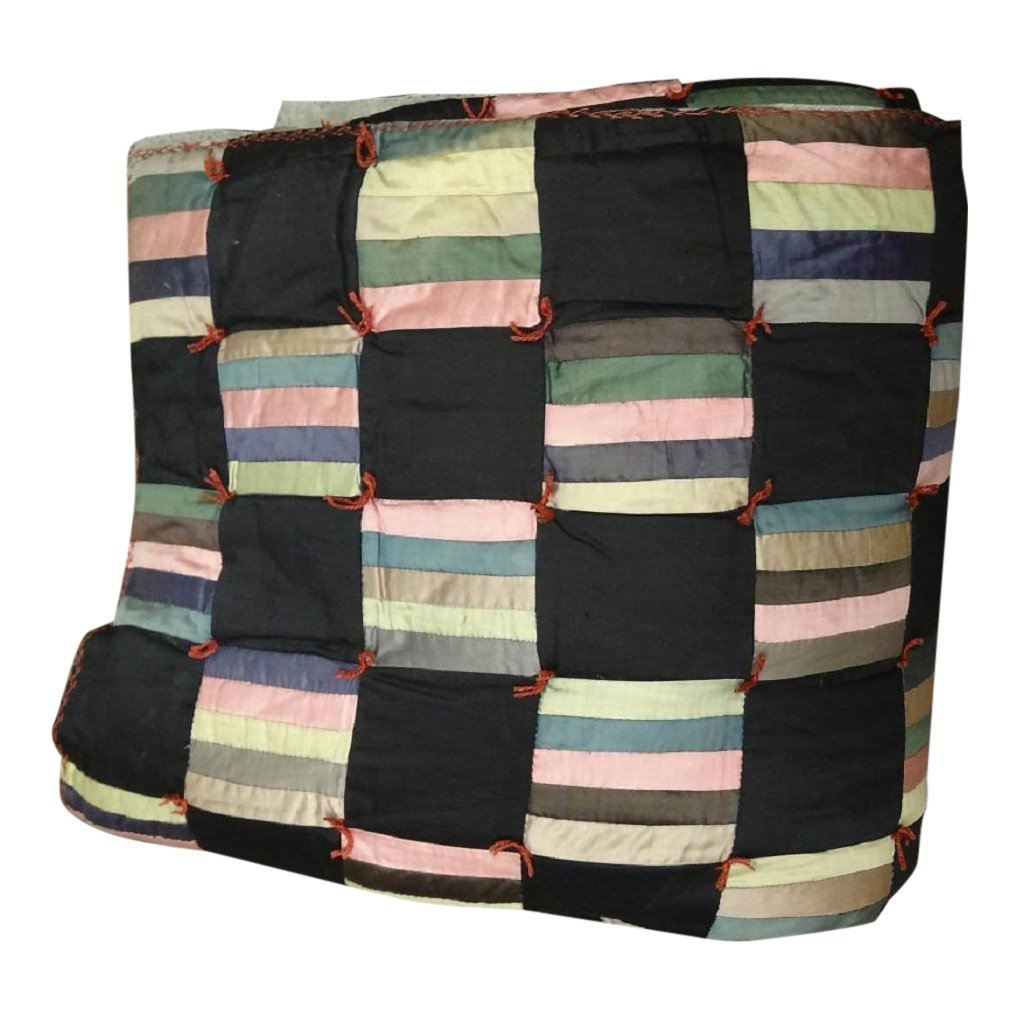 Black Striped Square Tied Through Quilt