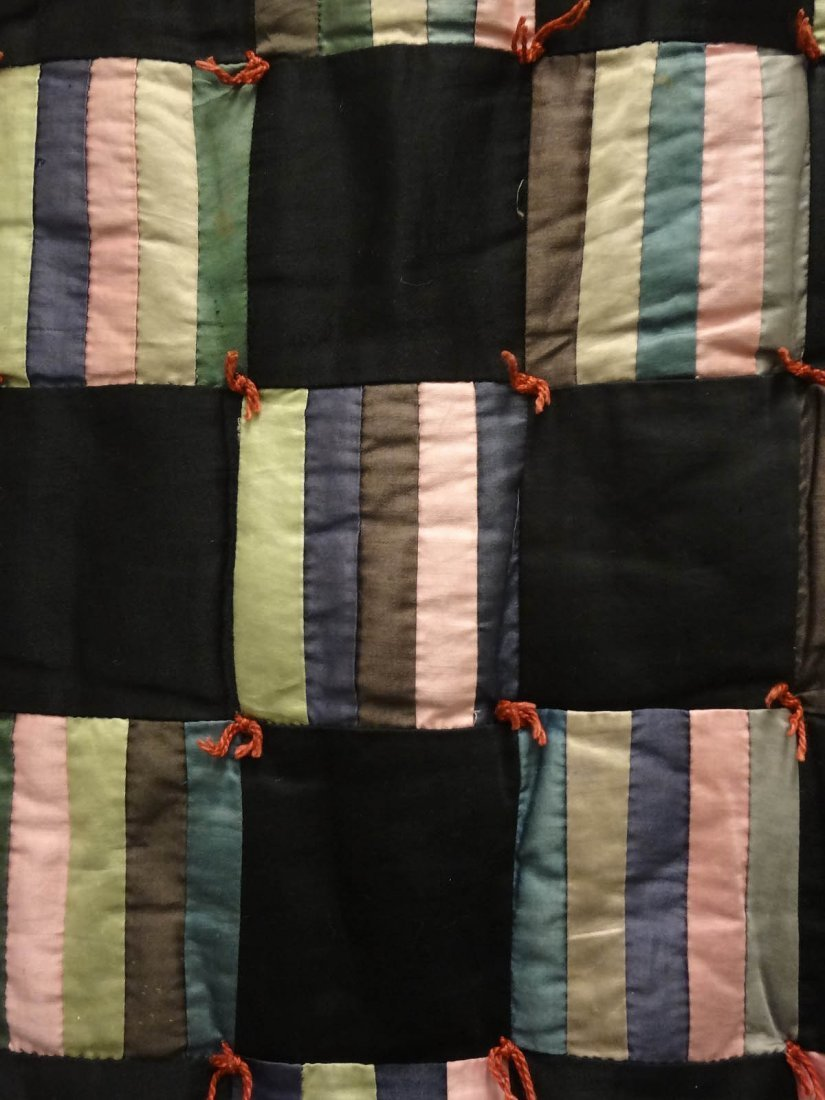 Black Striped Square Tied Through Quilt - 3