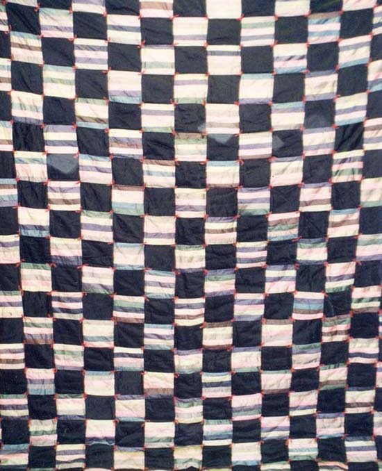 Black Striped Square Tied Through Quilt - 5