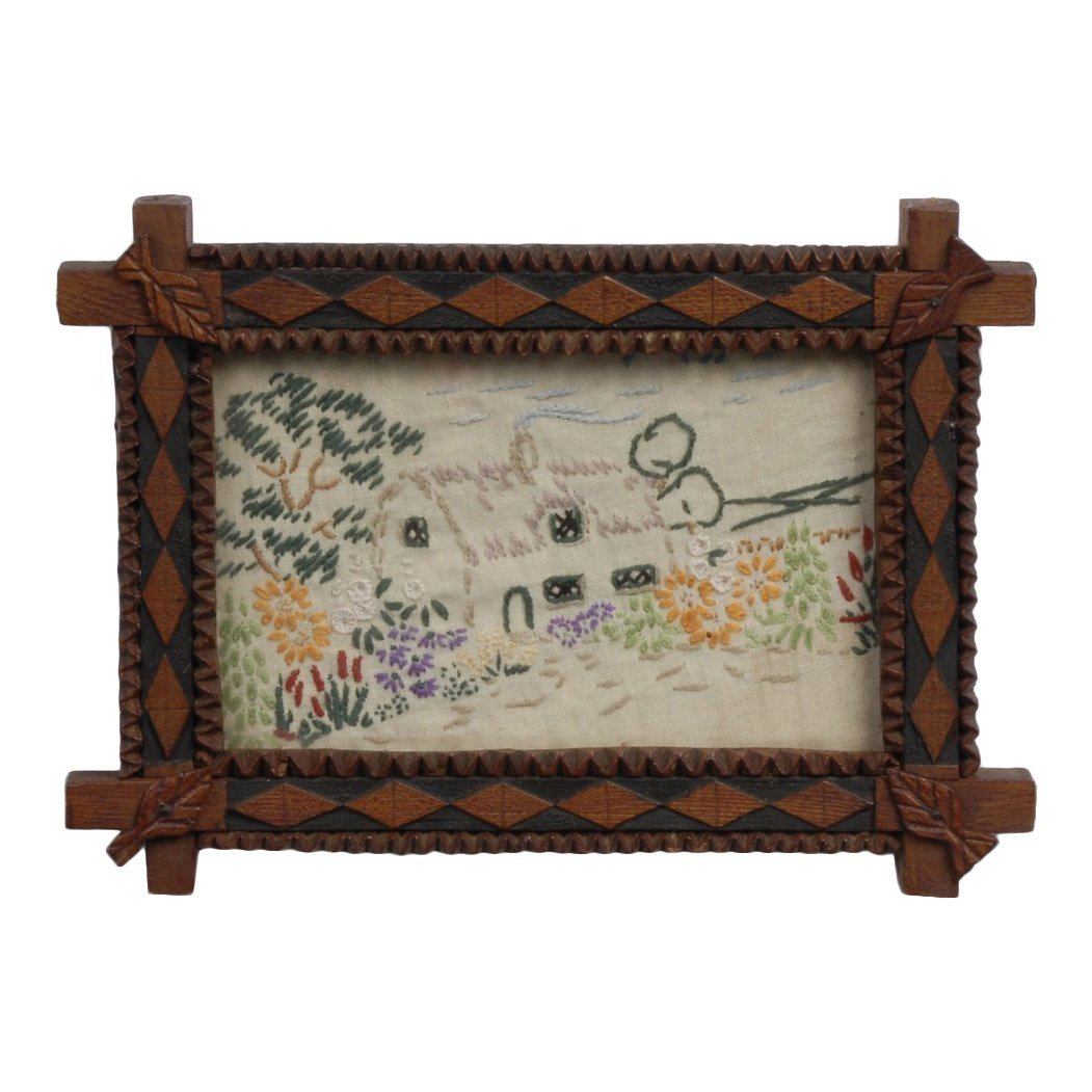 Early 20th C Handmade Tramp Art Frame with Textile
