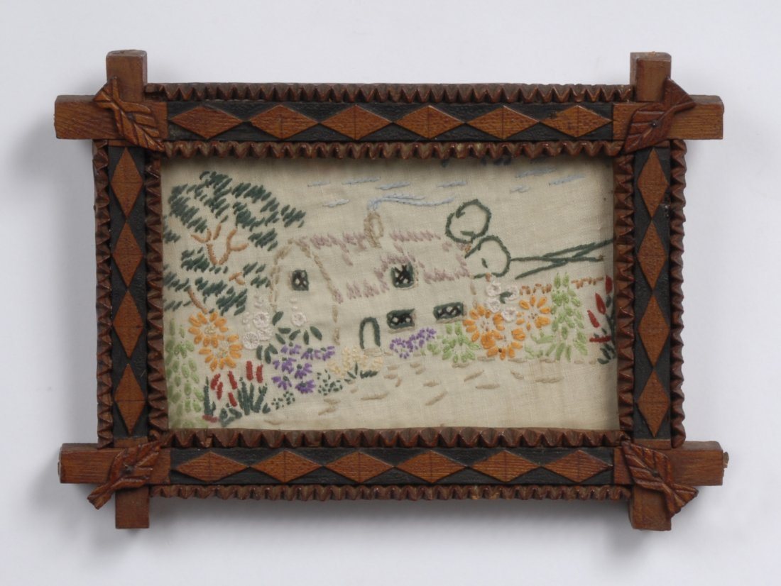 Early 20th C Handmade Tramp Art Frame with Textile - 2