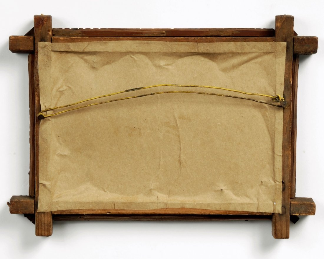 Early 20th C Handmade Tramp Art Frame with Textile - 5