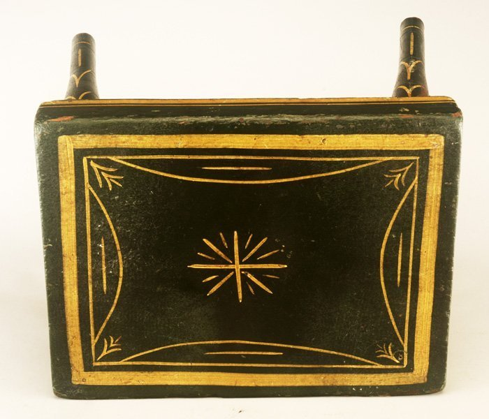 Mid 19th C Green Yellow Decorated Foot Stool - 2