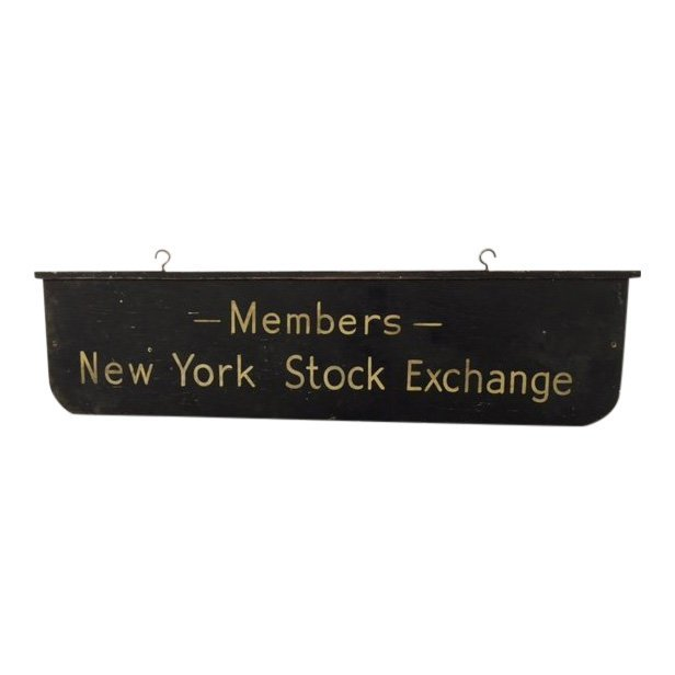 Wood Double Sided NYSE Sign, 1940s