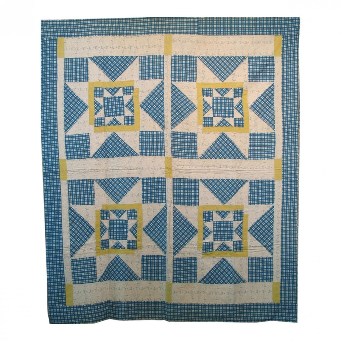 20th C Rising Star Pieced Quilt
