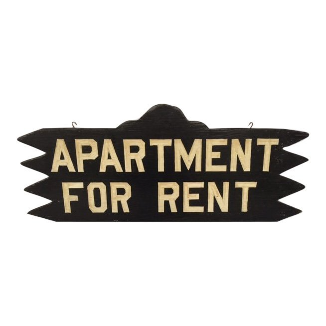 Double Sided Saw-Tooth Rent Sign, 1940s