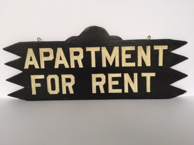 Double Sided Saw-Tooth Rent Sign, 1940s - 2