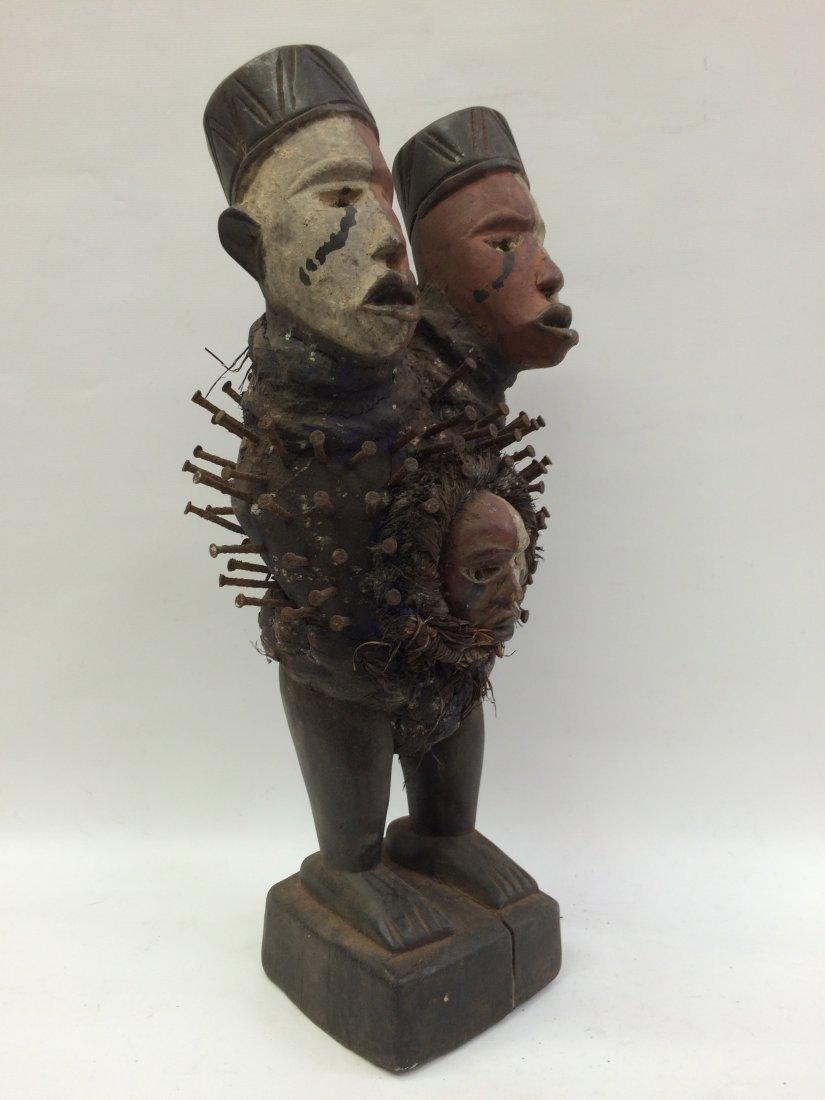 Triple Head Bacongo Fetish Statue - 3