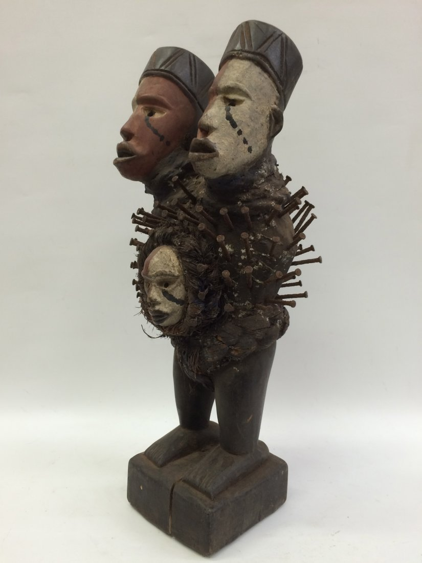 Triple Head Bacongo Fetish Statue - 4