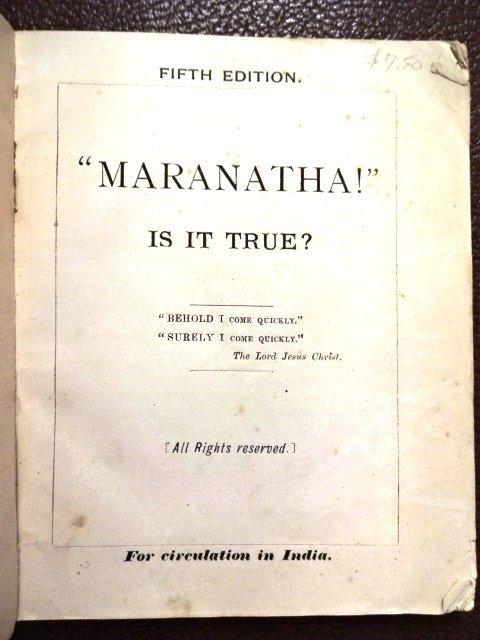 Madras: Marantha! Is It True?, 1891 - 2