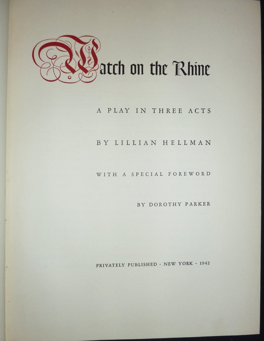 Lillian Hellman: Watch on the Rhine - Signed - 2