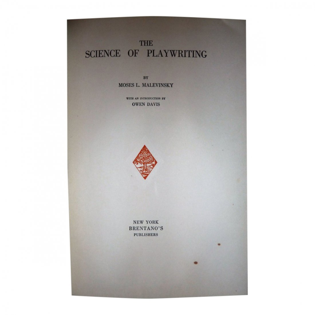 Moses Malevinsky: The Science of Playwriting - Signed