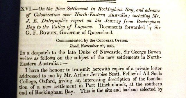 Extract Settlement of Rockingham Bay Australia, 1865 - 2