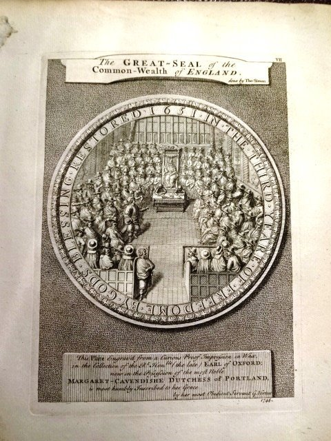 Great Seal of English Commonwealth Cromwell Print, 1753