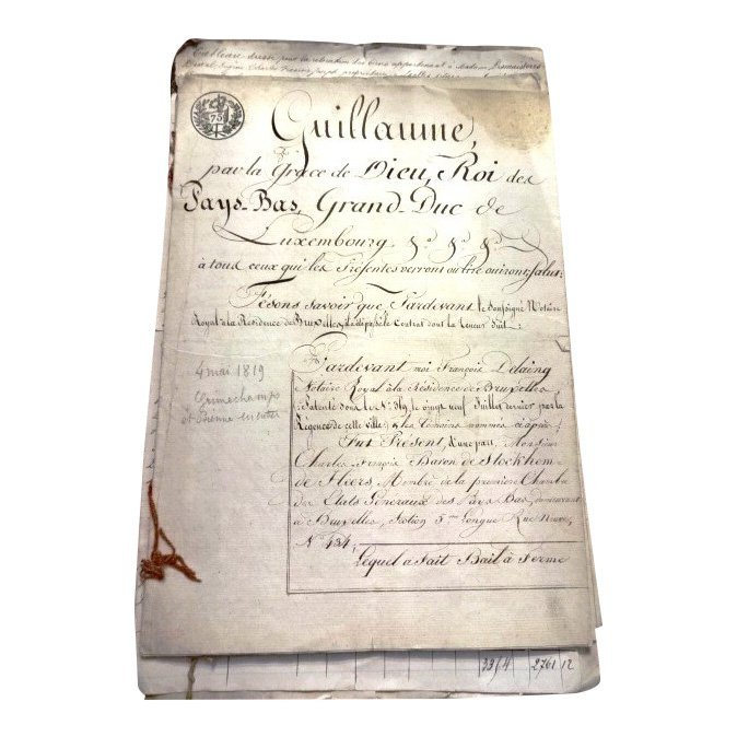 Seven Archive Manuscripts, Luxembourg & France, 1818