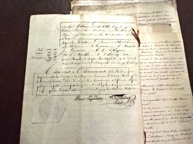 Seven Archive Manuscripts, Luxembourg & France, 1818 - 2
