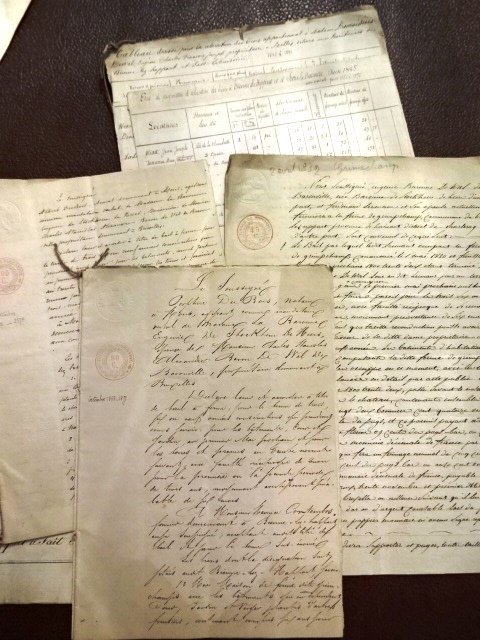 Seven Archive Manuscripts, Luxembourg & France, 1818 - 3