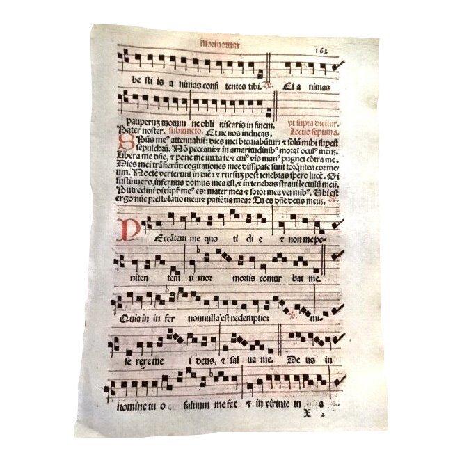 Catholic Hymnal Leaf, 1567